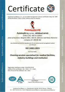 Putzteufel.cz, s.r.o., úklidový servis certifikace ISO 14001