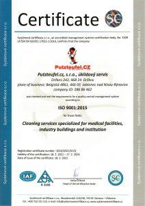 Putzteufel.cz, s.r.o., úklidový servis certifikace ISO 9001